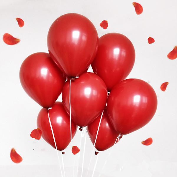 100 adet / torba Nar Kırmızı Lateks Balonlar Düğün Süslemeleri Doğum Günü Ev Dekorasyonu Için 10 inç Helyum Balon Çocuk Hediyeler toptan