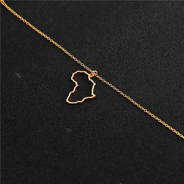 best selling Hollow Africa Map chain Necklace Egypt South Africa Kenya Nigeria world Map Africa Pendant Necklace Jewelry Hometown Lucky Clavicle Necklace