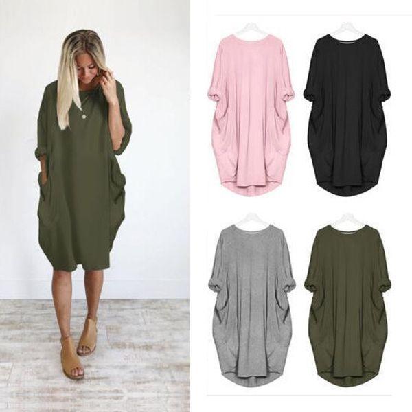 Fashion Pocket Loose Dress Dames Crew Neck Casual Plus Taille Long Femmes Tops Dress Classique Femmes Robes