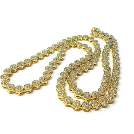 Vergoldete Sonnenblumenkette Halskette schwerer Labdiamant großer riesiger klobiger Jungenmann