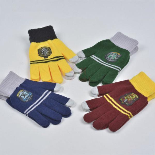 Guanti da college Harry Potter Grifondoro Serpeverde guanti Touchscreen in maglia Distintivo a strisce Cosplay Guanti da dito per bambini MMA2332