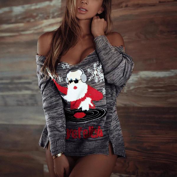 Femmes noël chandail à manches longues col en V arbre de Noël à tricoter chandail hauts Sexy Santa Jacquard top mujer verano 722