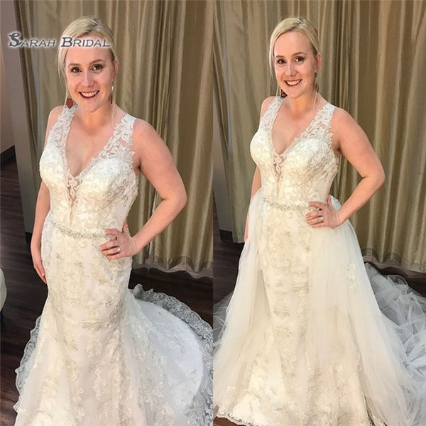 2020 Vestidos de novia de sirena sexy Vestido de novia sexy con apliques sobre la falda Vestidos de fiesta con cuello en V Ropa de fiesta