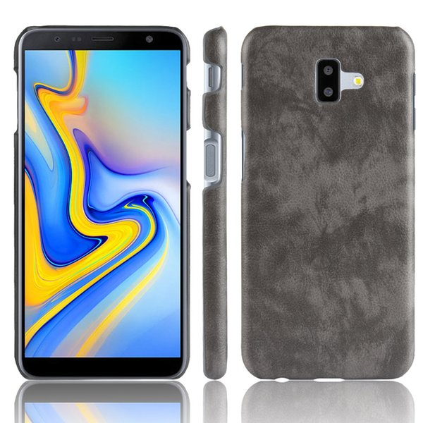 Para Samsung J6 Plus Funda J610F J610 Cuero de PU Patrón Litchi Funda dura para Samsung Galaxy J6 Plus J6 + J 6 Plus Funda para teléfono