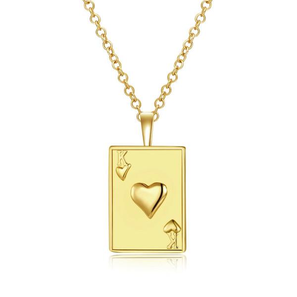 tendencia de la moda collar de oro corazón Plaza de cartas de póquer K de Europa y América colgante de hombres y mujeres con el collar