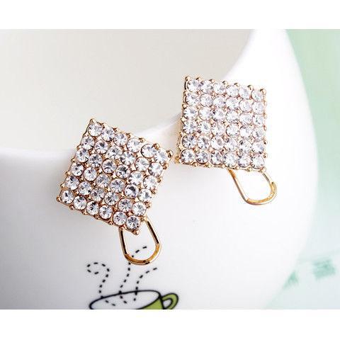Moda Hot Crystal Rhinestone Pendientes de diseño de acero inoxidable Pendientes de botón para las mujeres sobre el tamaño Pendientes al por mayor Envío gratuito