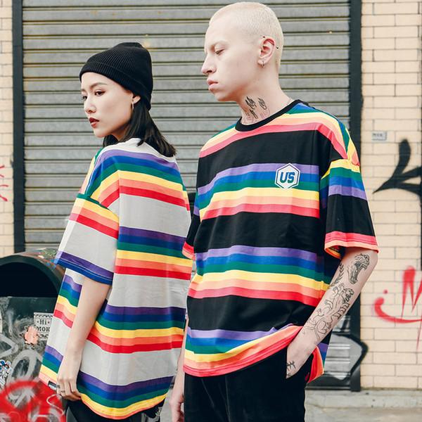 2019 Men Hip Hop T Shirt Harajuku Rainbow Striped T-Shirt Korean Style Retro Streetwear Summer Tops Tees Cotton Tshirt Oversized