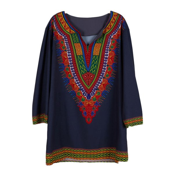 Men African Fashion Hippy Dashiki Print Shirt Casual Split Neck With 3/4 Sleeves Long Tailored Boho Tunics Top Tee For Male XXL