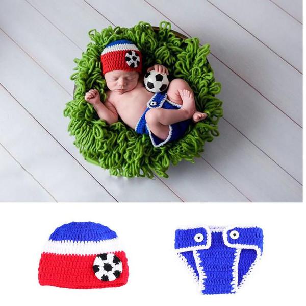 Recién nacidos Accesorios de fotografía Fútbol Bebé Crochet Pompon Bebé Sombreros Bebé Foto Accesorios