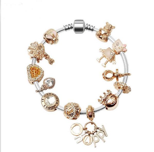Fashion Snake Chain Bracelet Silver Gold Plated Crystal European Charm Beads Fits Pandora Charm bracelets Style Bracelets k4257