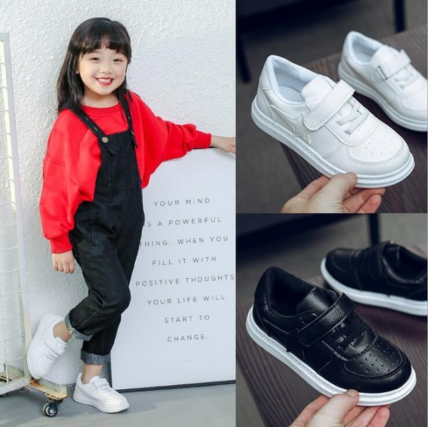 2018 autumn new boys and girls breathable fashion shoes middle and small children lightweight comfortable casual shoes baby white shoes 26-3