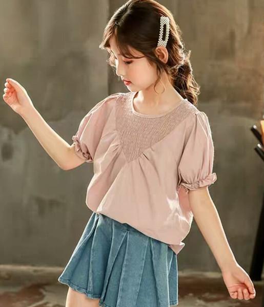 3-13 Jahre Mädchen Kurzarmhemden Sommerkleider Neue Kinderkleider Reine Farbe und dünnes Top mit rundem Kragen