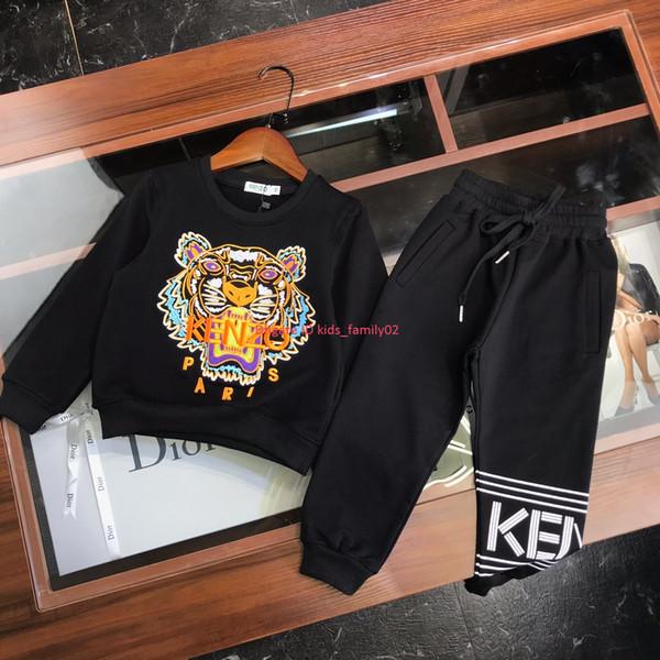 Çocuk Tişörtü setleri çocuklar giysi tasarımcısı Işlemeli kaplan kafası Kazak + pantolon 2 adet Sonbahar erkek ve kız pamuk koşu seti haber