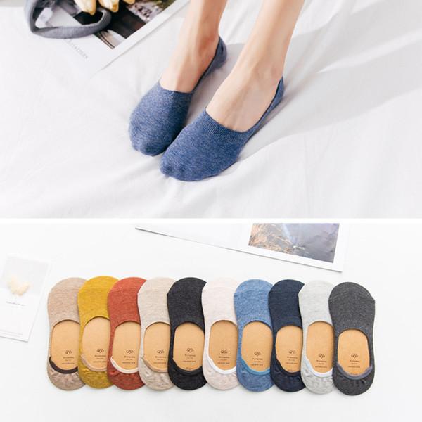 = 5 çiftleri 10 adet İlkbahar yaz kadın çorapları Düz renk moda vahşi sığ ağız görünmez çorap terlik felmen
