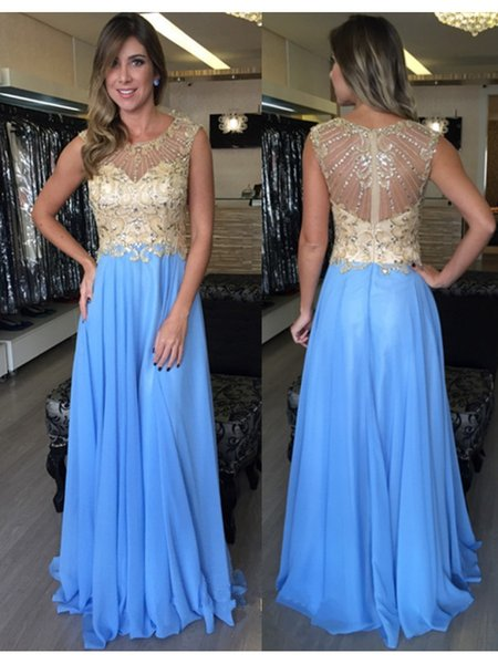 Crystal Beaded Chiffon Prom Dresses Long robes de soiree Scoop Neck Cap Sleeve Formal Evening Gowns Black Girl Sweet 16 Dress