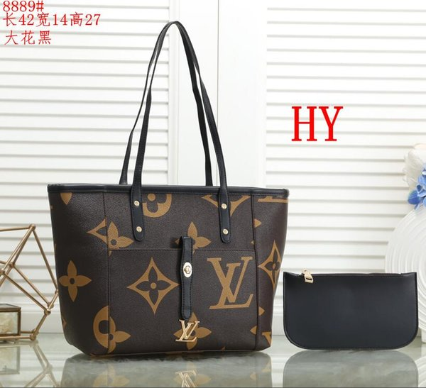 2pcs set high qulity classic Designer womens handbags flower ladies composite tote PU leather clutch shoulder bags female purse with wallet
