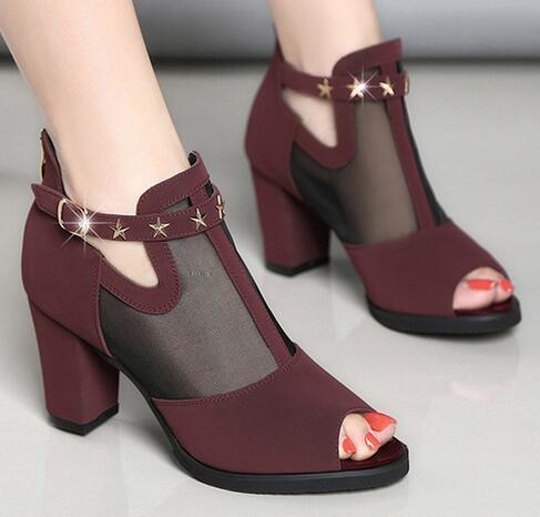 Women Pumps High Thick Black Heels Ladies Shoes Rivet Mesh Zipper Open Toe Casual Party wedding Chunky Party Dress Sandal 129W