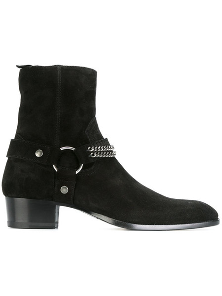 New Western Bowboy Boots for men Suede Chains Biker Booties Men Wedding Shoes Big Size 46