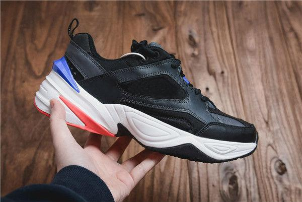 2019 Com Caixa Monk M2K Tekno Pai Esportes Sapatos de Corrida Pure Platinum Preto Branco Das Mulheres Dos Homens Designer Zapatillas Sports Formadores Sneakers