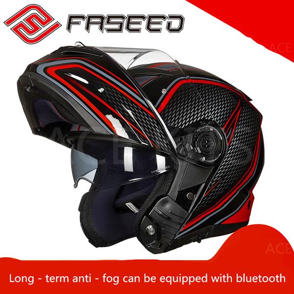 FASEED doble lente destapada hombre motocicleta casco completo bluetooth motocicleta corriendo casco cubierta completa NO.67