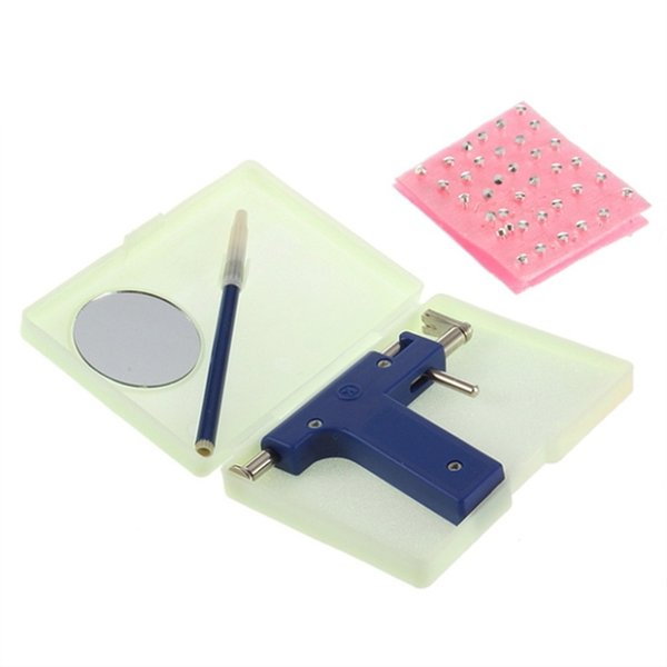 Safe Disposable Women No Pain Nose Ear Piercing Kit Safe Sterile Body Piercing Gun+72pcs Ears Stud Piercing Gun Tool &15