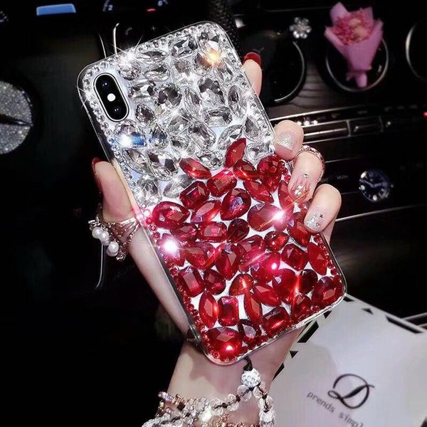 Luxury Bling Mix Color Crystal Diamond Case Cover Without Fox Fur Ball Pendant For Iphone XS Max XR X 8 7 6 6S Plus