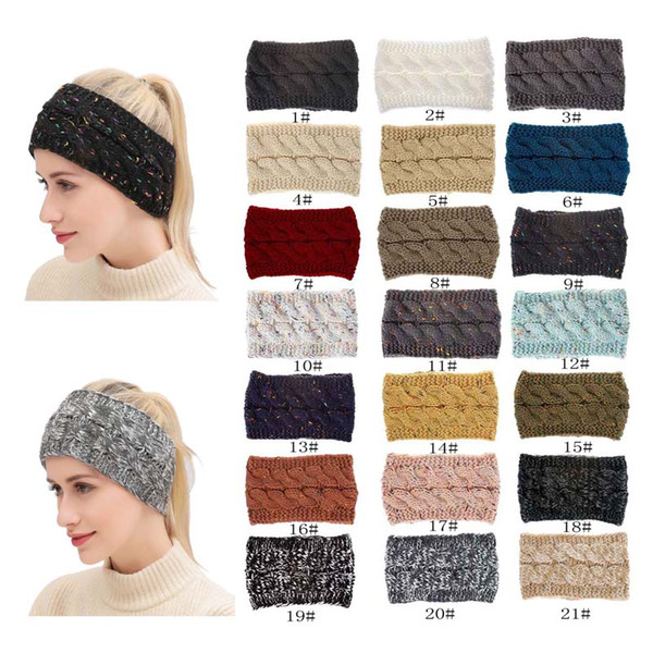 top popular 21 Colors Knitted Twist Headband Women Winter Sports Ear Warmer Head Wrap Hairband Fashion Hair Accessories 2020