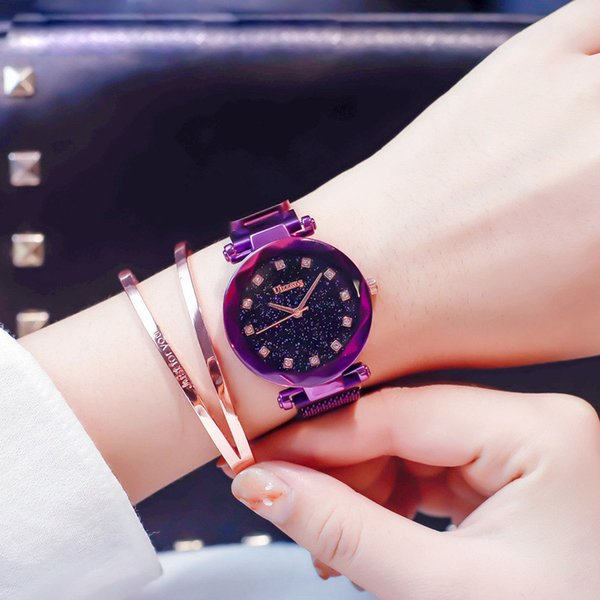 heap Women's Watches Fashion Women Watch Purple Stylish Rhinestone Mesh Belt Lady Wristwatch Magnet Buckle 2018 Casual Business Female Qu...
