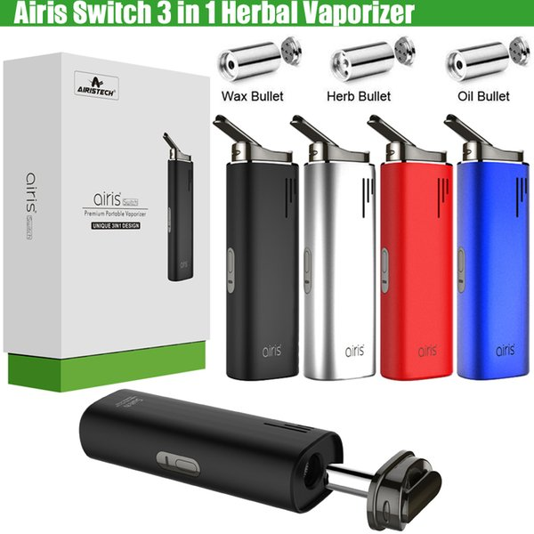 Authentic Airis Switch 3in1 Dry Herb Herbal Vaporizer Concentrate Wax Thick Oil Airistech 2200mAh Battery Vape Pen Kit e Cigs Starter Kits