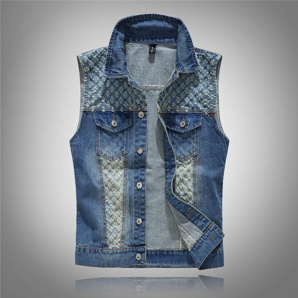 Hole Vintage Vest Denim Men Spliced Bleached Turn-down Collar Distressed Slim Cowboy Male Coats Jacket Fashion Retro Clothing