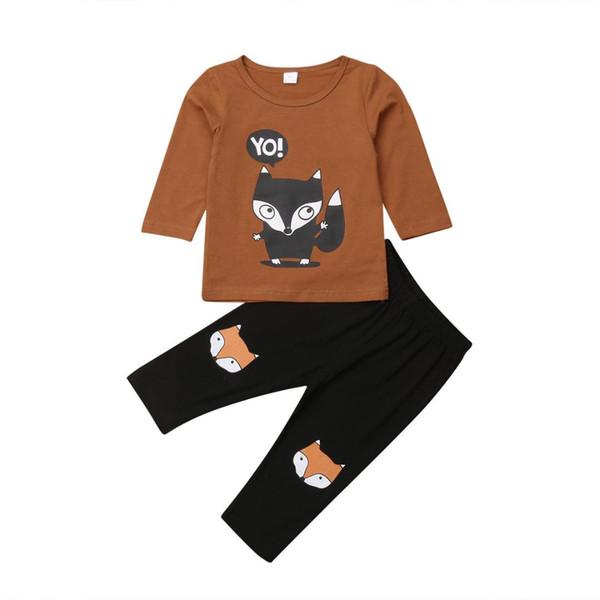 Cotton 2pcs Toddler Baby Boy Autumn Grown Cartoon Cute Pattern Fox Long Sleeve T-shirt Top+Pants Trousers Outfit Kid Clothes Set