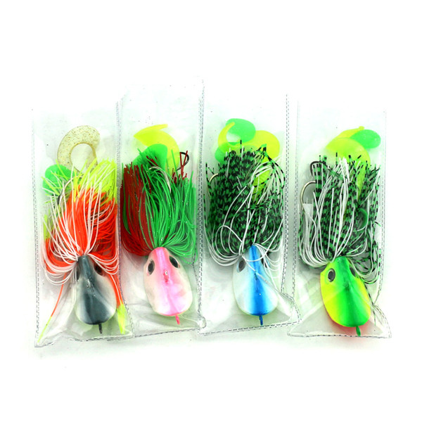 HENGJIA Multi-colors 100G Lead Octopus Head Jigs Fishing Lure Baits Rubber Skirts and Soft Lure Tail with 3D Simulation Eyes