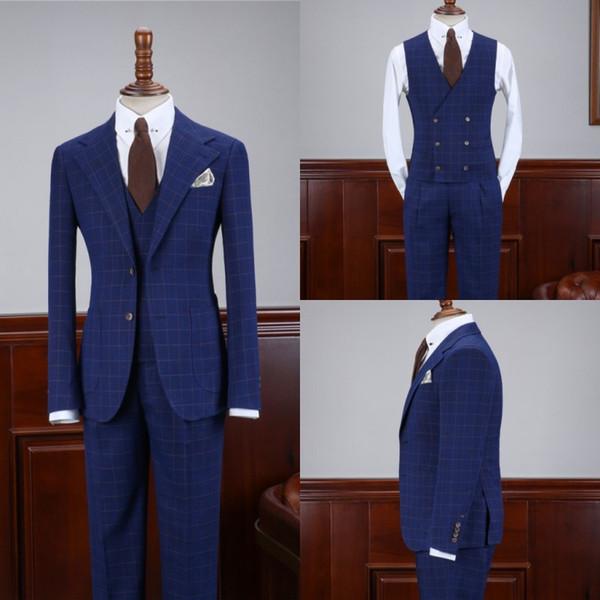 Smoking Elegante Do Noivo Smoking Slim Fit Dois Botões Padrinhos De Casamento Homens Populares Formal Prom Jacket Blazer Suit (Jacket + Vest + Pants)