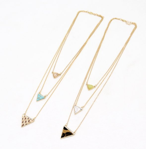Fashion Crystal Triangle Multilayers Stone Necklaces Straw Leopard Print Braided Sweater Necklace New York Kendra Brand Jewelry