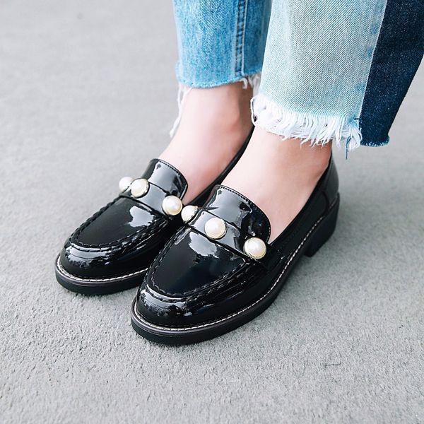 grande decorazione brogue scarpe donna nero rosso appartamenti in pelle japanata borda muli signore mocassini piatti scarpe espadrillas s209