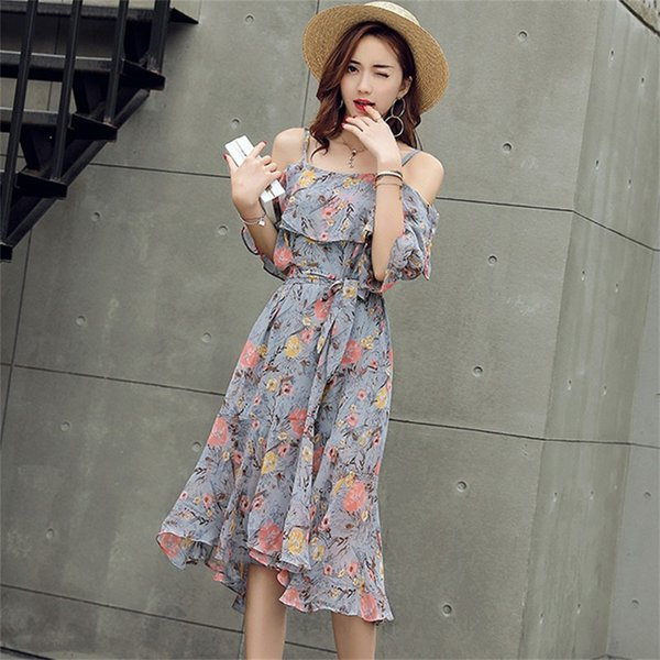 Dress 2019 Woman Dress New Fashion Spring And Summer Short Sleeve Long Slim Strap Floral Dress