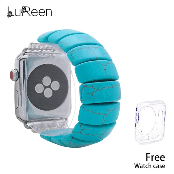 LuReen Fashion Turquoise Watchband Elastic Watch Bands For Apple iWatch Watch Strap 38/42mm Natural Stone Bracelet Replacement