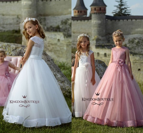 Pink Sequins A Line Tulle Flower Girls Dresses Lovely White Buttons Covered Girls Pageant Gown with Flower Belt Cheap Dress for Girls