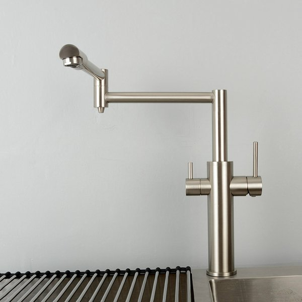 Double Function Kitchen Mixer Faucet With Drink Water Tap 100% Brass Black Hot & Cold Water Tap Double Handles Sink Faucet