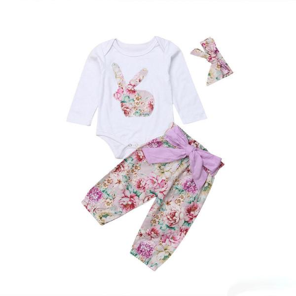 Toddler Girl Set Boutique de Pâques pour bébé Tenues Cartoon Rabbit Romper + pantalon long + Casquette 3PCS Enfants Automne Vêtements Ensembles