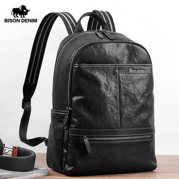 BISON DENIM растительного дубления из натуральной кожи Рюкзак 15 дюймов ноутбук сумки Мужского Путешествия Рюкзак Schoolbag Для подростковой N2955