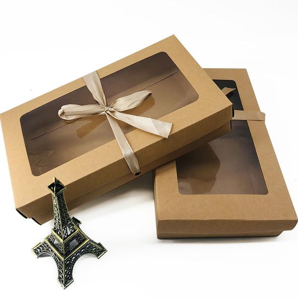 26x15.5x5cm grande regalo de papel Kraft paquete de la caja con la ropa interior de la ventana de PVC transparente favorece artskrafts caja de embalaje de presentación LX2385
