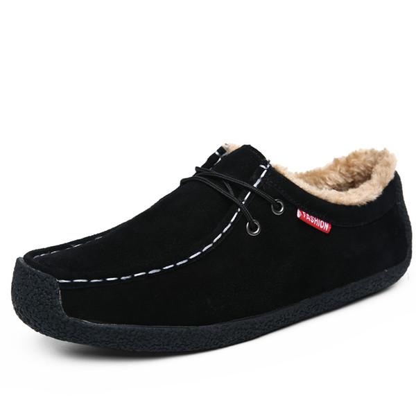 Venda QUENTE Inverno Botas de Neve Ocasional Homens De Couro Ankle Boots Plana Slip-Resistente Moda Homem Inverno pele Quente Sapatos Tamanho Grande 39-50