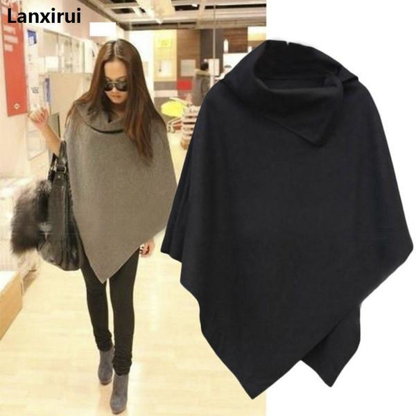 Autumn&Winter 4 Colors Women Coat Poncho Casual Overcoat Zipper Loose Pullover Cloak Sweater Cape Outwear