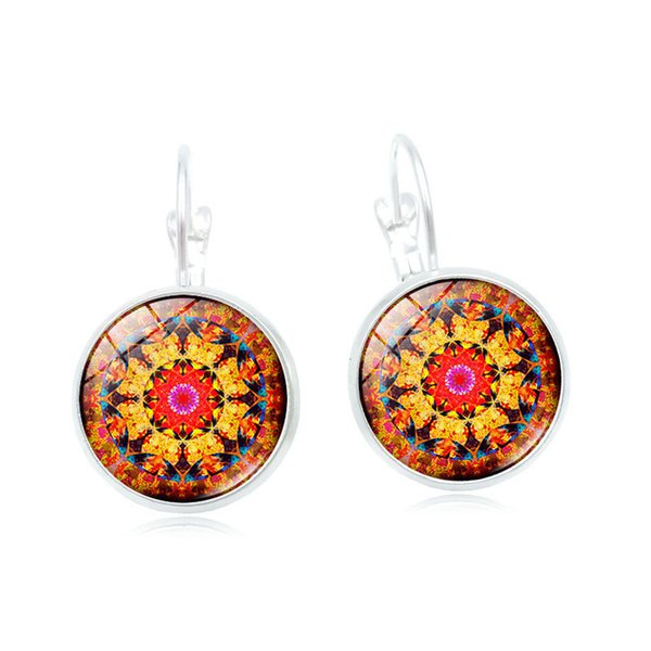 Cross-border hot sale earrings Mandala flower French earrings retro time gem ear hooks custom diy earrings wholesale