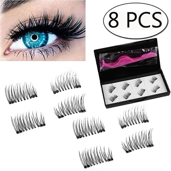 8pcs Magnetic Eyelashes with 3 Magnets Handmade 3D Magnetic Lashes Natural False Eyelashes Magnet Lashes with Gift Box
