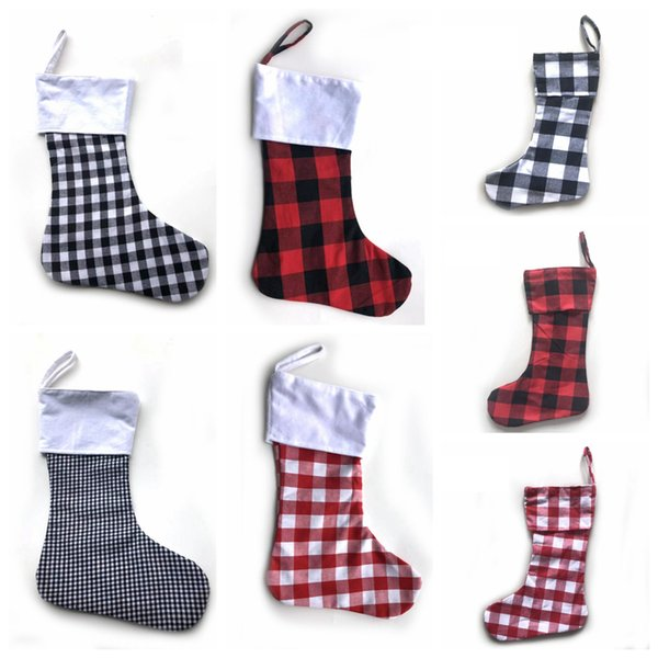 best selling Christmas Party Canvas Stocking Hanging Plaid Socks Tree Ornament Decor Crochet Hosiery Xmas Socks Gift Candy Bag LJJA3335-11