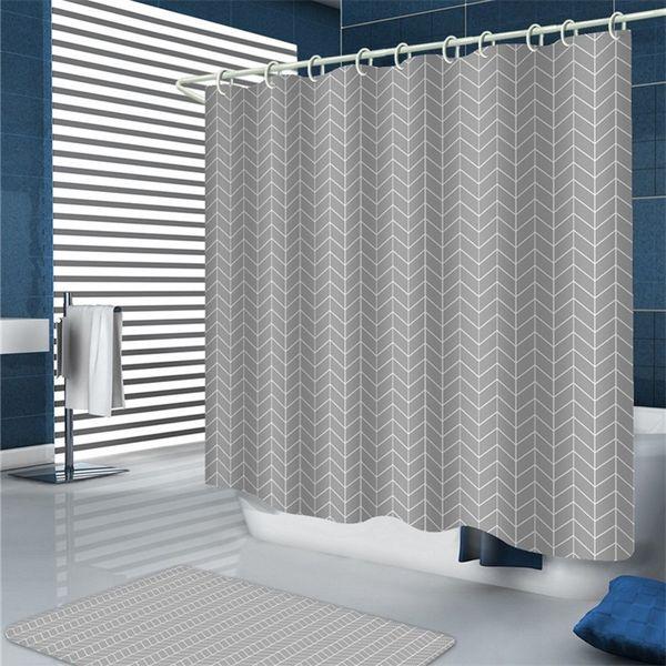 A prueba de moho Cortinas de baño de la ducha Thicked Geométrico Clásico Gris Onda de mar Juegos de baño Thicked de la cortina de ducha 10 2ty4 E1