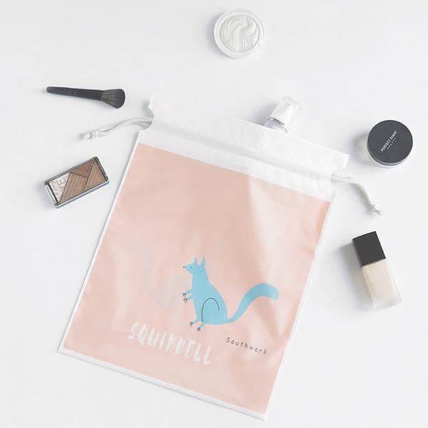 Double-deck 3pcs Separate Bags Travel Bundle Pocket Set Waterproof Drawstring Clothing Collection PEVA Cartoon Shoes Underwear O