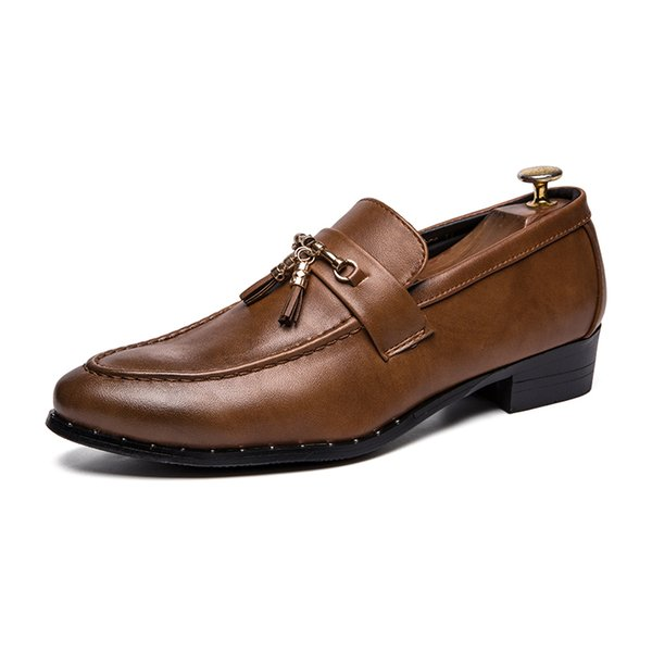 Men New Design Tassel Dress Shoe Classic Genuine Cow Leather Shoes for Male Pointed Toes Stylish Casual Business Shoe SH808255